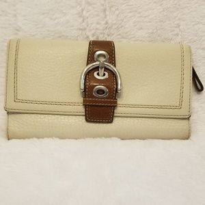 Coach Cream Leather Classic Soho Trifold Wallet